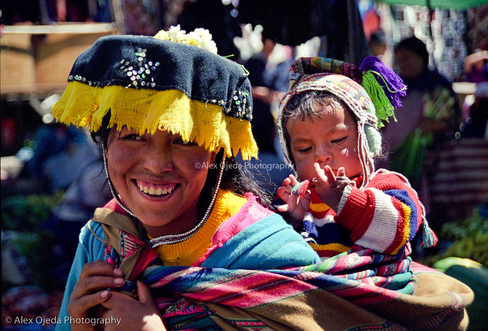 Woman and child in traditional dress, Peru