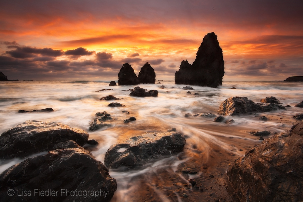 stormy winter sky during sunset on rodeo beach in the marin headlands near sausalito california