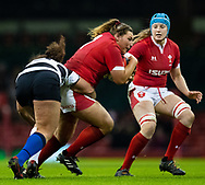 Gwenllian Pyrs of Wales is tackled by Silvia Turani of Barbarians<br /> <br /> Photographer Simon King/Replay Images<br /> <br /> Friendly - Wales v Barbarians - Saturday 30th November 2019 - Principality Stadium - Cardiff<br /> <br /> World Copyright © Replay Images . All rights reserved. info@replayimages.co.uk - http://replayimages.co.uk