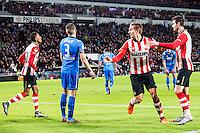 EINDHOVEN - PSV - AZ , Voetbal , Seizoen 2015/2016 , Eredivisie , Philips stadion , 29-11-2015 , PSV speler Luuk de Jong (2e r) scoort de 2-0 en viert dat met man van de assist PSV speler Joshua Brenet (l) en PSV speler Gaston Pereiro (r)