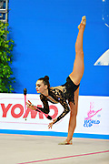 "Kragulj Sara during clubs routine at the International Tournament of rhythmic gymnastics ""Città di Pesaro"", 11 April, 2015. Sara born on October 26, 1996 in Ljubljana, is a Slovenian rhythmic gymnast.<br />