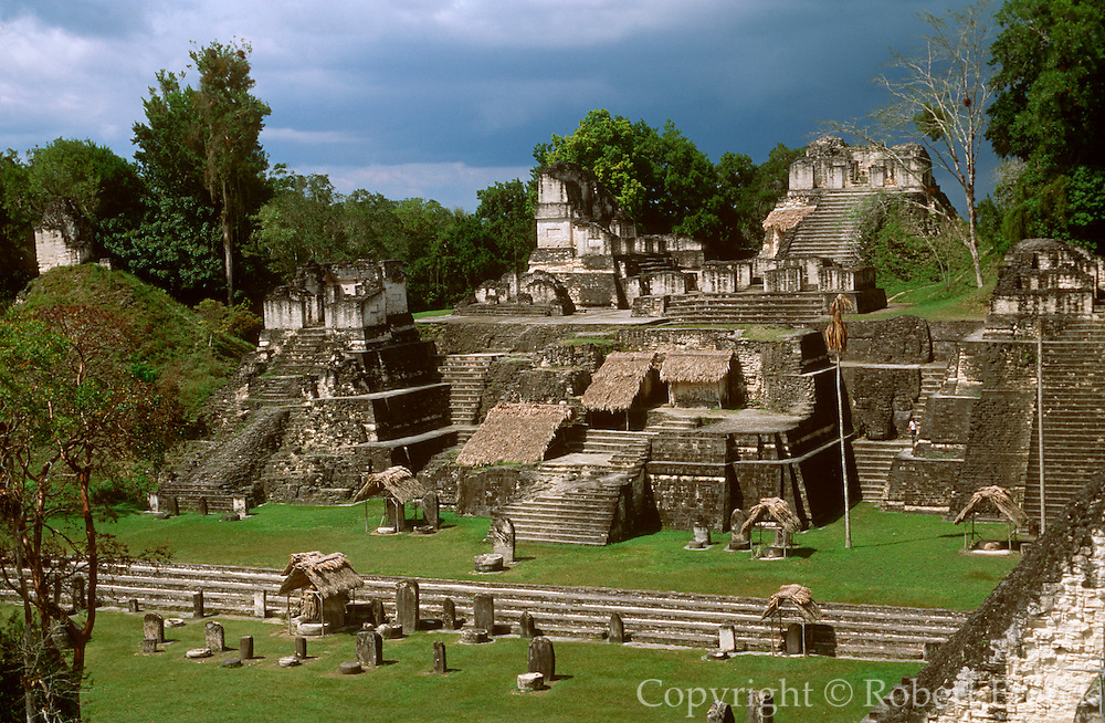 GUATEMALA, MAYAN, TIKAL Great Plaza and the North Acropolis