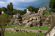 GUATEMALA, MAYAN, TIKAL Great Plaza and the North Acropolis