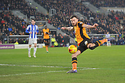 Hull City midfielder Robert Snodgrass (10) shoots at goal from close range  during the Sky Bet Championship match between Hull City and Sheffield Wednesday at the KC Stadium, Kingston upon Hull, England on 26 February 2016. Photo by Ian Lyall.