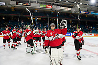 KAMLOOPS, CANADA - NOVEMBER 5:  Team WHL salutes fans after the win against the Team Russia on November 5, 2018 at Sandman Centre in Kamloops, British Columbia, Canada.  (Photo by Marissa Baecker/Shoot the Breeze)