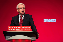 © Licensed to London News Pictures. 24/09/2018. Liverpool, UK. Shadow Chancellor John McDonnell MP delivers his speech at the Labour Party Conference 2018. Photo credit: Rob Pinney/LNP
