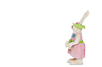 Side view of stuffed Bunny standing over white background