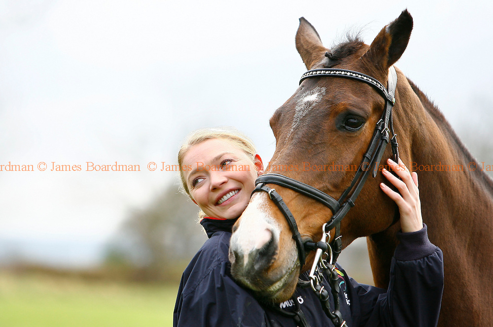Former Strictly Come Dancing contestant Jodie Kidd training at Hickstead for a celebrity jump off against Tara Palmer - Tomkinson at the Express Eventing International Cup which takes place on Sunday 30 November 2008