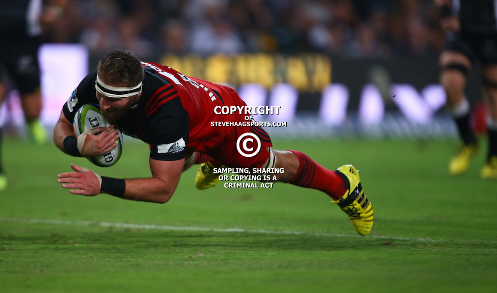 DURBAN, SOUTH AFRICA - MARCH 26: Kieran Read (C) of the BNZ Crusaders over for a try during the Super Rugby match between Cell C Sharks and BNZ Crusaders at Growthpoint Kings Park on March 26, 2016 in Durban, South Africa. (Photo by Steve Haag/Gallo Images)