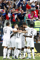 NIZHNY NOVGOROD, July 6, 2018  Players of France celebrate Antoine Griezmann's goal during the 2018 FIFA World Cup quarter-final match between Uruguay and France in Nizhny Novgorod, Russia, July 6, 2018. (Credit Image: © Ye Pingfan/Xinhua via ZUMA Wire)