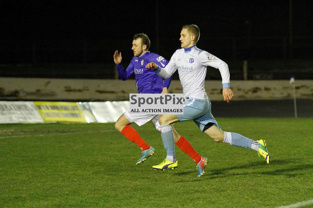 Cowdenbeath FC v Forfar FC, Scottish League 1, Tuesday 23 February 2016. Jillian McFarlane | sportPix.org.ukCOWDENBEATH #11 GREIG SPENCE AND FORFAR ATHLETIC #6 THOMAS O'BRIEN SPRINT TO KEEP THE BALL IN PLAY<br /> <br /> Cowdenbeath FC v Forfar FC, Scottish League 1, Tuesday 23 February 2016. Jillian McFarlane | sportPix.org.uk