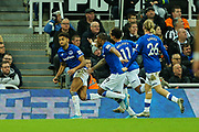 Dominic Calvert-Lewin (#9) of Everton celebrates Everton's second goal (1-2) during the Premier League match between Newcastle United and Everton at St. James's Park, Newcastle, England on 28 December 2019.