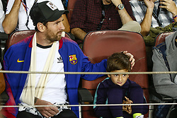 October 24, 2018 - Barcelona, Spain - Barcelona forward Lionel Messi (10) with his son Thiago  during the UEFA Champions League match between FC Barcelona and Inter Milan at Camp Nou Stadium on October 24, 2018 in Barcelona, Spain. (Credit Image: © Mikel Trigueros/NurPhoto via ZUMA Press)