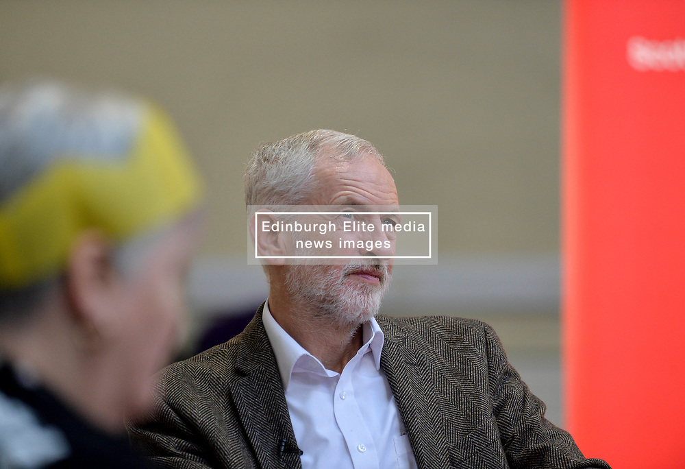 Pictured: Jeremy Corbyn meets homeless volunteers.<br /> <br /> Labour leader Jeremy Corbyn travelled to Scotland to attend a festive lunch for homeless charities and volunteers in Edinburgh on Sunday, along with Scottish Labour leader Richard Leonard.<br /> <br /> © Dave Johnston / EEm