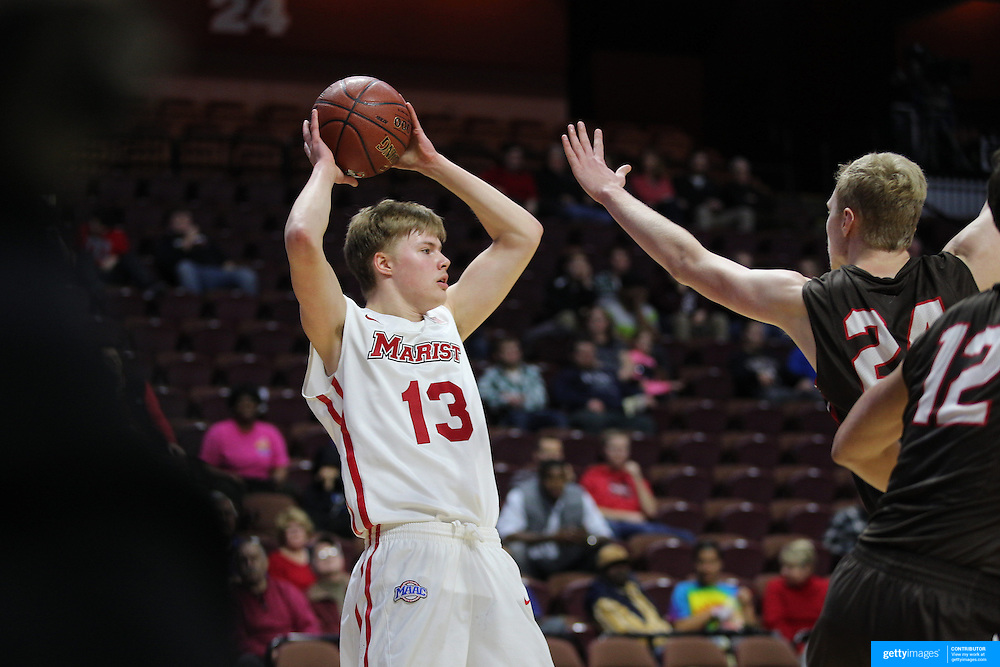 Kristinn Palsson, Marist, in action during the Marist vs Brown Men's College Basketball game in the Hall of Fame Shootout Tournament at Mohegan Sun Arena, Uncasville, Connecticut, USA. 22nd December 2015. Photo Tim Clayton