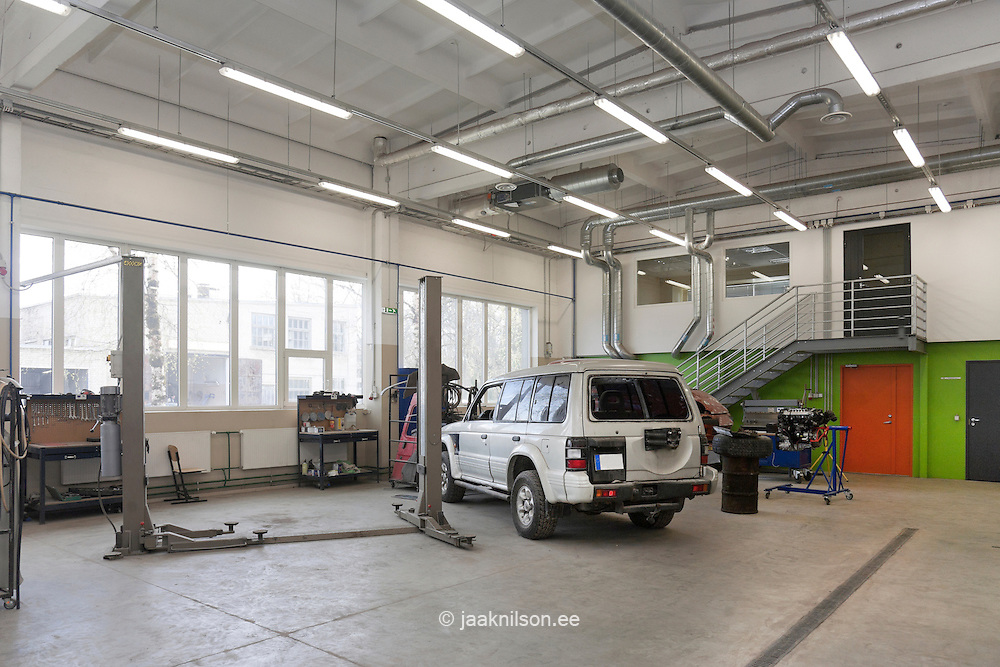 Car waiting for body work or repair in full equipped garage or repair shop. Vana-Vigala Technical and Service School in Estonia.