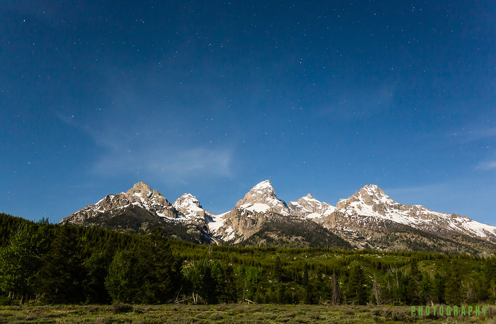 Grand Tetons at night
