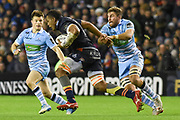 Bill Mata on the charge during the 1872 Challenge Cup, Guinness Pro 14 2018_19 match between Edinburgh Rugby and Glasgow Warriors at BT Murrayfield Stadium, Edinburgh, Scotland on 22 December 2018.