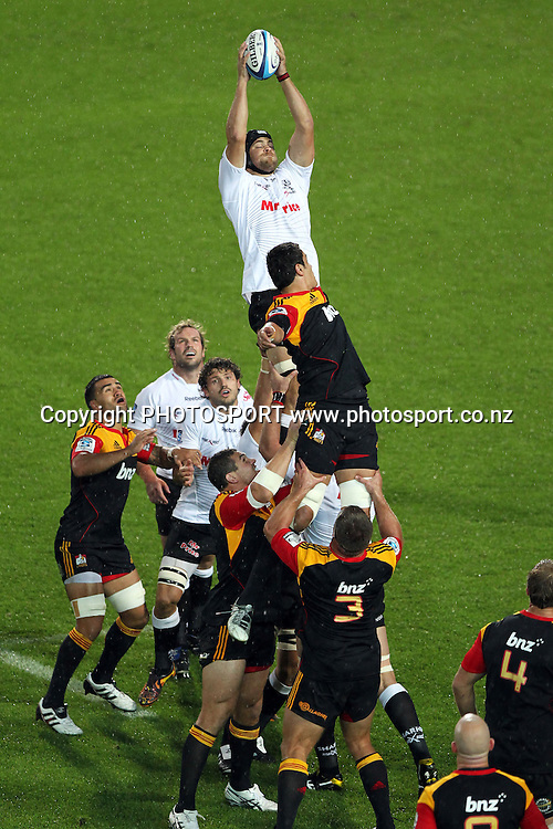 Sharks' Alistair Hargreaves wins a lineout. Super 15 rugby union match, Chiefs v Sharks at Waikato Stadium, Hamilton, New Zealand. Friday 18th March 2011. Photo: Anthony Au-Yeung / photosport.co.nz