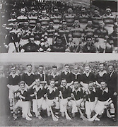 Above top: The Antrim Team of 1943 who had a sensational won over Kilkenny in the All-Ireland semi-final of 1943 at Corrigan Park, Belfast. Back Row: Tom Walsh, Mannix McAlister, Donal Boylan, Dan McKillop, John Currie, Kevin Murphy, John Butler, Noel Campbell, Willie Graham. Second Row: John McNeill, Joe Mullen, Sam Mulholland, Kevin Armstrong, Paddy McGarry, Jimmy Walsh, Paddy McKeown, John Hurl, Jackie Bateson, Danny McAlister. Front Row: Fred Delaney, Gerry McAteer, Billy Best. .Above bottom: Cork-All-Ireland Hurling Champions 1943. Back Row: J Quirke, J Young, T Mulcahy, C Murphy, J Lynch, A Lotty, T O'Sullivan. Middle Row: D J Buckley, B Thornhill, S Condon, M Kenefick (capt), M Brennan, C Ring, J Barry (Trainer). Front Row: C Cotrell, W Murphy.