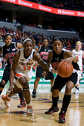 Maryland forward/center Crystal Langhorne (1) and Virginia center Aisha Mohammed (33) fight for the ball.  The Virginia Cavaliers women's basketball team fell to the #4 ranked Maryland Terrapins 74-62 at the John Paul Jones Arena in Charlottesville, VA on January 18, 2008.