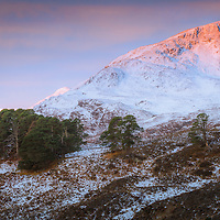 First kiss of morning sun on Sgurr na Lapaich, Glen Affric
