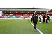 Burton Albion manager Nigel Clough arrives at Ashton Gate and inspects the pitch before the EFL Sky Bet Championship match between Bristol City and Burton Albion at Ashton Gate, Bristol, England on 4 March 2017. Photo by Richard Holmes.