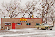 Square Butte Bar and Cafe, Montana, winter, pickup truck