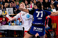 Tonje Larsen of Larvik  vs Andrea Lekic of Krim during 3rd Main Round of Women Champions League handball match between RK Krim Mercator, Ljubljana and Larvik HK, Norway on February 19, 2010 in Arena Kodeljevo, Ljubljana, Slovenia. Larvik defeated Krim 34-30. (Photo by Vid Ponikvar / Sportida)