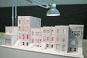 A model showing various types of Brooklyn townhouses by Manifold Architectural Studio of Brooklyn at BklynDesigns, part of NYCxDesign, a week-long design festival in New York City.