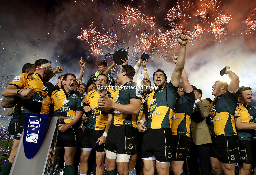 Amlin Challenge Cup Final, Cardiff Arms Park, Cardiff 23/5/2014<br /> Bath vs Northampton Saints<br /> The Northampton Saints celebrate winning the Amlin Cup<br /> Mandatory Credit &copy;INPHO/Dan Sheridan