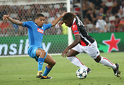 NICE, Aug. 23, 2017  Allan Saint-Maximin (R) of Nice vies with Allan of Napoli during a Champions League playoff round, second leg soccer match between Nice and Napoli in Nice, France on Aug. 22, 2017. Napoli won 2-0. (Credit Image: © Serge Haouzi/Xinhua via ZUMA Wire)