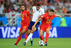 England's Ruben Loftus-Cheek (centre) and Belgium's Mousa Dembele (left) and Belgium's Leander Dendoncker (right) battle for the ball during the FIFA World Cup Group G match at Kaliningrad Stadium.