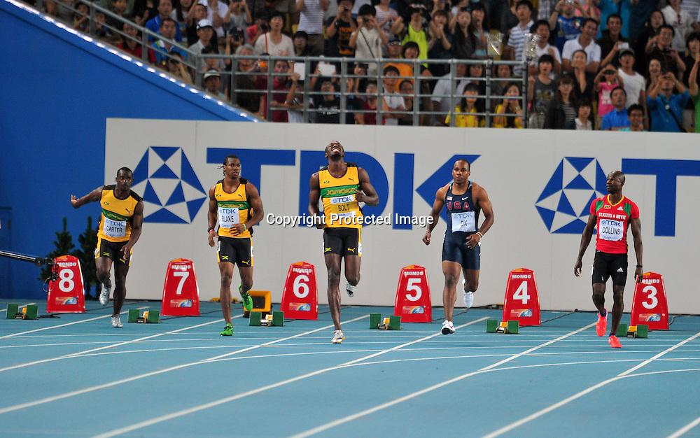 Usain Bolt (JAM), AUGUST 28, 2011 - Athletics :The 13th IAAF World Championships in Athletics - Daegu 2011, Men's 100m Final at the Daegu Stadium, Daegu, South Korea. (Photo by Jun Tsukida/AFLO SPORT) [0003]