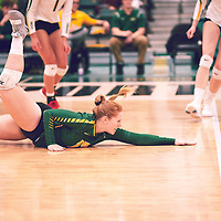 5th year libero, Taylor Ungar (13) of the Regina Cougars during the Women's Volleyball home game on Fri Jan 18 at Centre for Kinesiology, Health & Sport. Credit: Arthur Ward/Arthur Images