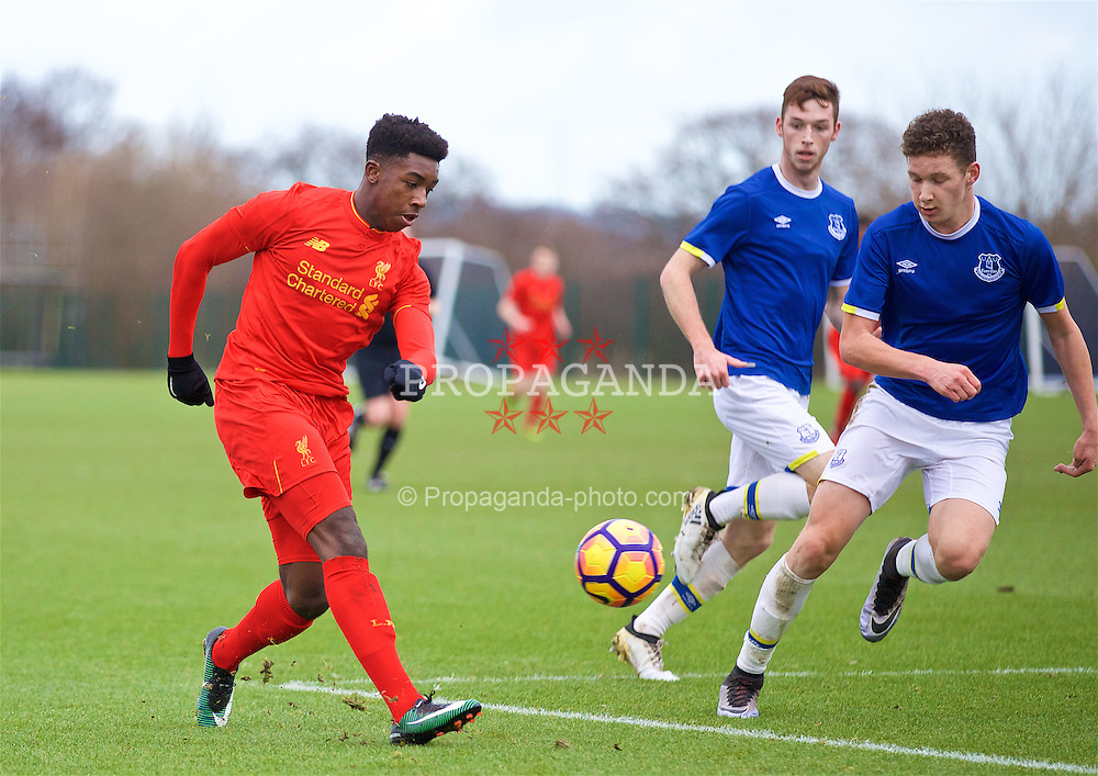 HALEWOOD, ENGLAND - Saturday, January 14, 2017: Liverpool's Okera Simmonds in action against Everton during an Under-18 FA Premier League match at Finch Farm. (Pic by David Rawcliffe/Propaganda)