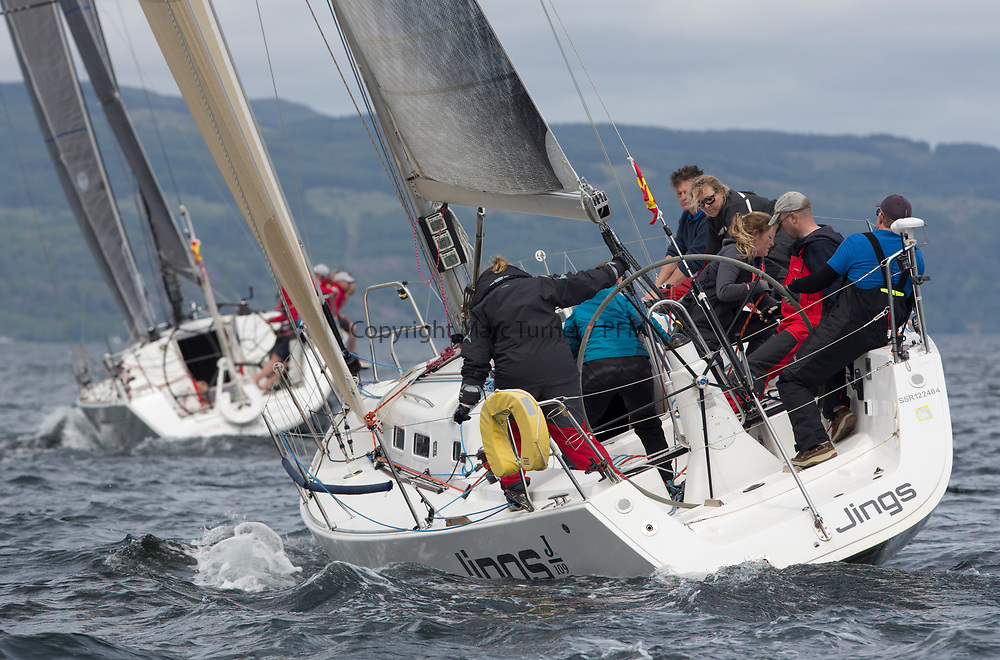 Silvers Marine Scottish Series 2017<br /> Tarbert Loch Fyne - Sailing<br /> <br /> GBR8543R, Jings, Robin Young, CCC, J109<br /> <br /> Credit: Marc Turner / CCC