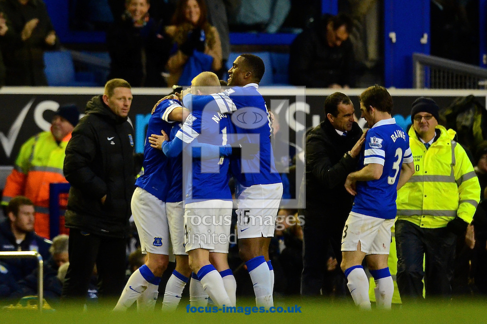 Picture by Ian Wadkins/Focus Images Ltd +44 7877 568959<br /> 01/02/2014<br /> Kevin Mirallas of Everton celebrates after scoring to make it Everton 2 Aston Villa 1 during the Barclays Premier League match at Goodison Park, Liverpool.