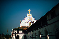 Alleppey, India -- February 20, 2018: A village church on the backwaters of southern Kerala State.