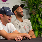 August 21, 2014, New Haven, CT:<br /> Andy Roddick and James Blake address the media in a press conference during the Men's Legends Event on day seven of the 2014 Connecticut Open at the Yale University Tennis Center in New Haven, Connecticut Thursday, August 21, 2014.<br /> (Photo by Billie Weiss/Connecticut Open)