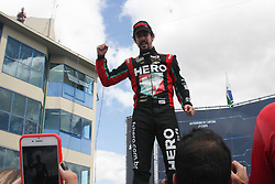 April 8, 2018 - Brazil - Lucas Di Grassi wins the 2nd race of stock car , Caca Bueno 2nd placer  & Gabriel Casagrande the 3rd placer during Stock Car 2018 race in Brazil. (Credit Image: © Niyi Fote/Pacific Press via ZUMA Wire)