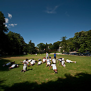 August 31, 2009 - Bronx, NY : The Riverdale Country School football team spent much of the day working out at the school's lower school campus on Monday.