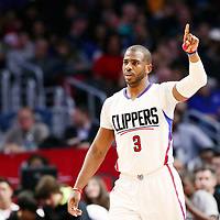 25 March 2016: LA Clippers guard Chris Paul (3) is seen during the Los Angeles Clippers 108-95 victory over the Utah Jazz, at the Staples Center, Los Angeles, California, USA.