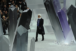 German designer Karl Lagerfeld on the catwalk after Chanel Fall-Winter 2012-2013 Ready-To-Wear collection show held at Le Grand Palais, in Paris, France, on March 6, 2012. Photo by Thierry Orban/ABACAPRESS.COM