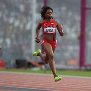 Keshia Baker, USA, in action during the Women's 4 X 400m Heats at the Olympic Stadium, Olympic Park, during the London 2012 Olympic games. London, UK. 10th August 2012. Photo Tim Clayton