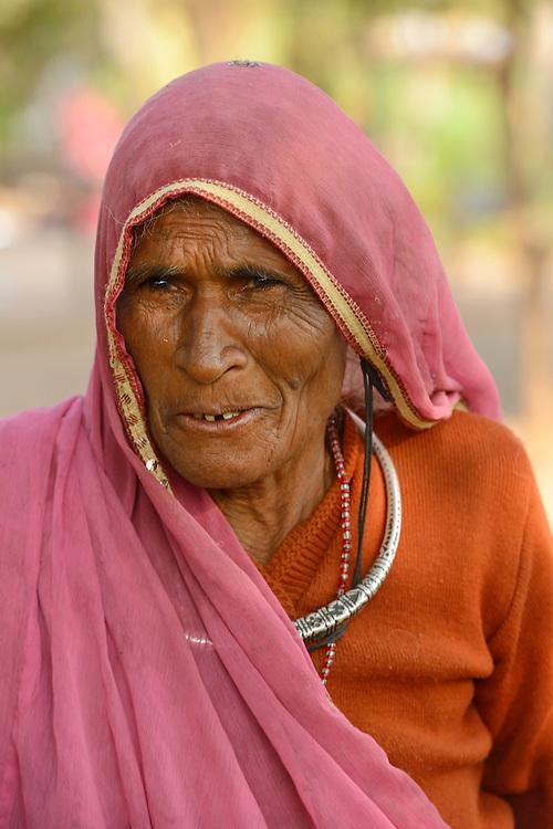 Old woamn in village near  ,City of Bundi, Rajasthan,India,Asia