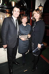Left to right, KENNY LOGAN, CATHERINE YOUNG and KIRSTY YOUNG at the Johnnie Walker Blue Label Great Scot Award 2010 in association with The Spectator and Boisdale held at Boisdale of Belgravia, 22 Ecclestone Street, London SW1 on 24th February 2010.