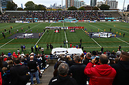 General Stadium view during the team lineups at the start of Toronto Wolfpack vs London Broncos during the Super 8s Qualifiers Million Pound Game at Lamport Stadium, Toronto, Canada<br /> Picture by Stephen Gaunt/Focus Images Ltd +447904 833202<br /> 07/10/2018