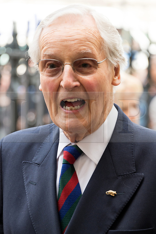 © Licensed to London News Pictures. 07/06/2017.  London, UK. NICHOLAS PARSONS attends the Memorial Service of RONNIE CORBETT at Westminster Abbey. The entertainer, comedian, actor, writer, and broadcaster was best known for his long association with Ronnie Barker in the BBC television comedy sketch show The Two Ronnies. Photo credit: Ray Tang/LNP