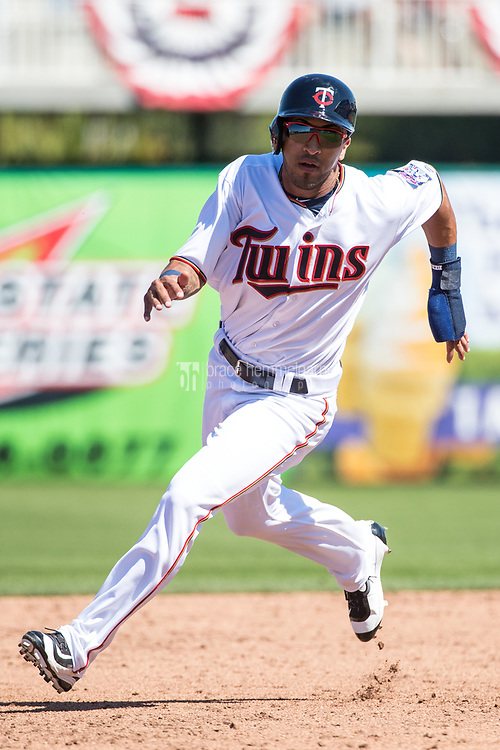 FORT MYERS, FL- FEBRUARY 26: Eddie Rosario #20 of the Minnesota Twins runs against the Washington Nationals on February 26, 2017 at Hammond Stadium in Fort Myers, Florida. (Photo by Brace Hemmelgarn) *** Local Caption *** Eddie Rosario